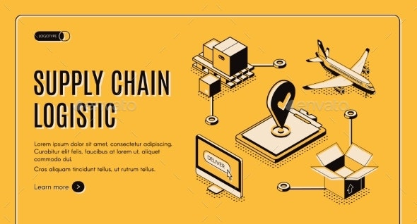 Logistics Company Supply Chain Isometric Webpage - Concepts Business