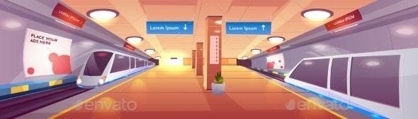 City Subway Station Cartoon Vector Interior - Miscellaneous Vectors