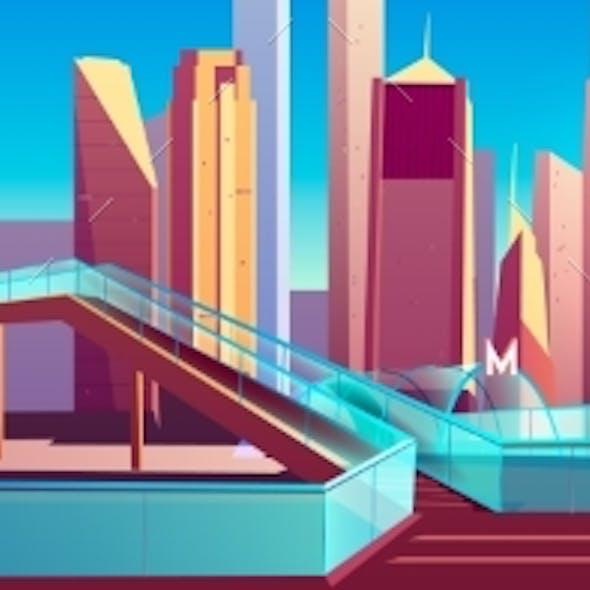 Pedestrian Overpass in Modern City Cartoon Vector