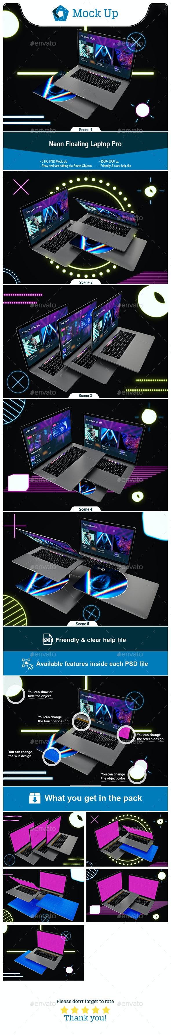Neon Floating MacBook Pro - Laptop Displays