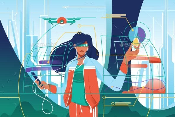 Flat Young Woman in High Tech World - Computers Technology