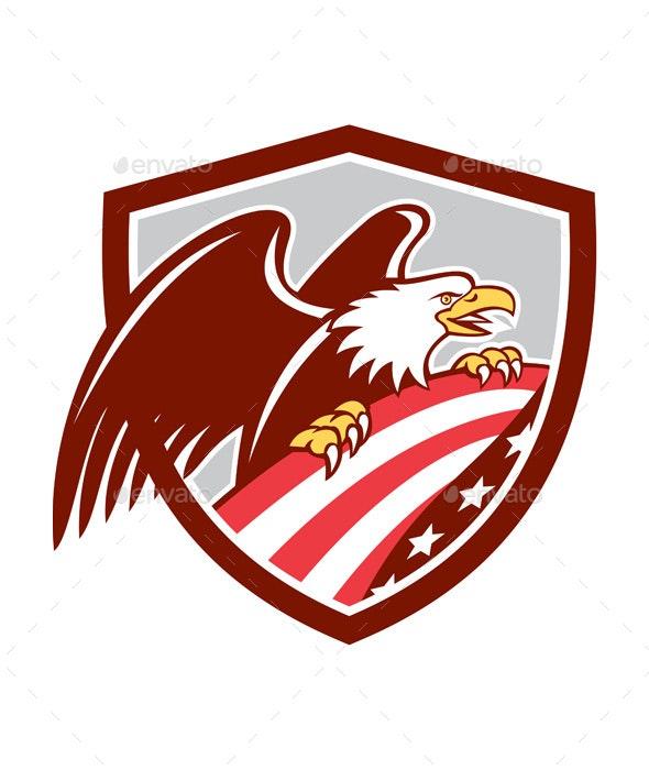 American Bald Eagle Clutching USA Flag Shield Retro - Animals Characters