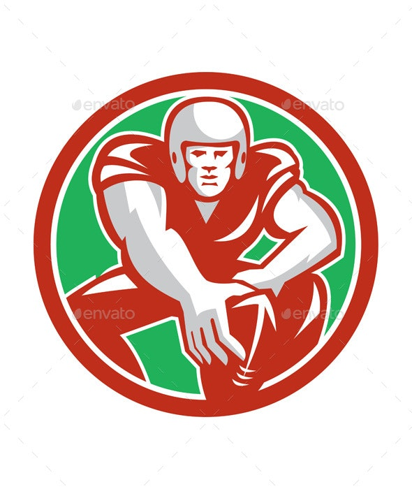 Football Player Snap Circle Retro - Sports/Activity Conceptual