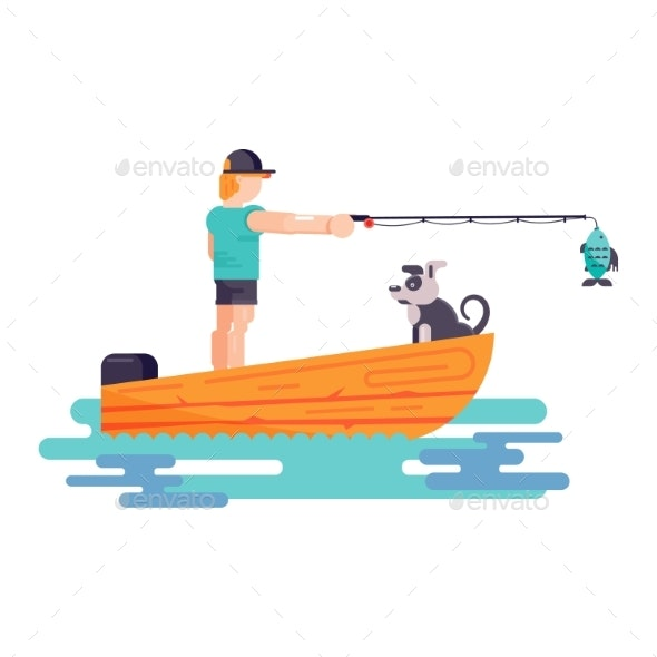 Man Fishing with Dog - Animals Characters