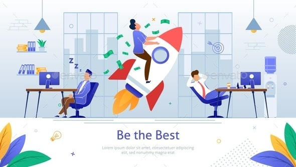 Winning Business Competition Flat Vector Poster - Concepts Business