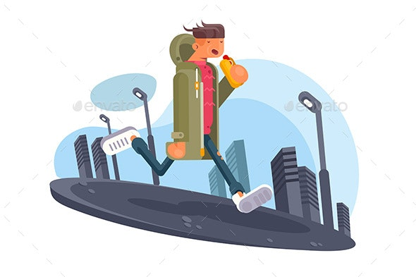 Guy Walking Around City - People Characters