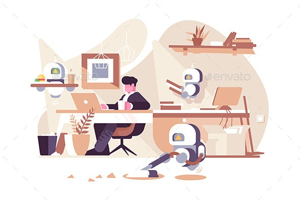 Robots Working in Office - Computers Technology