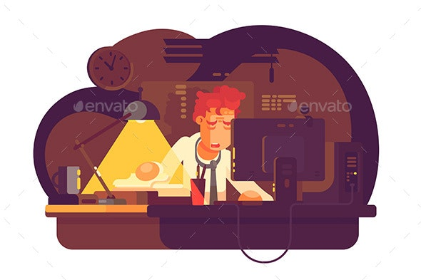 Tired Man Working in Night Office - People Characters