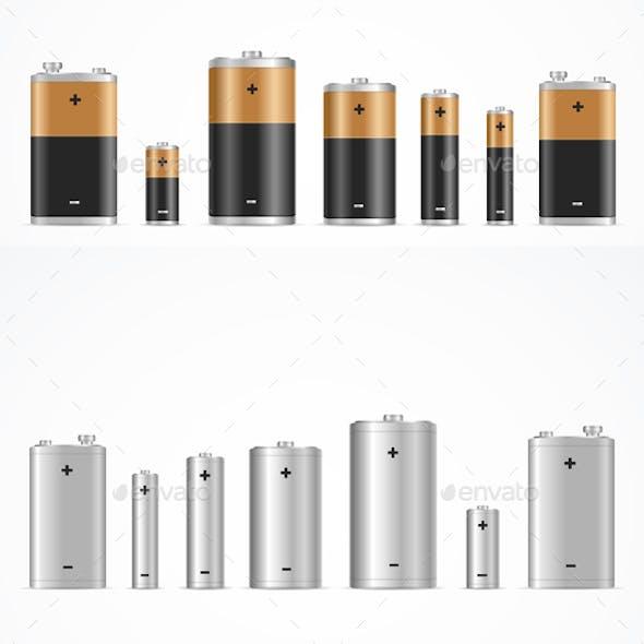 Realistic Detailed Alkaline Battery Set
