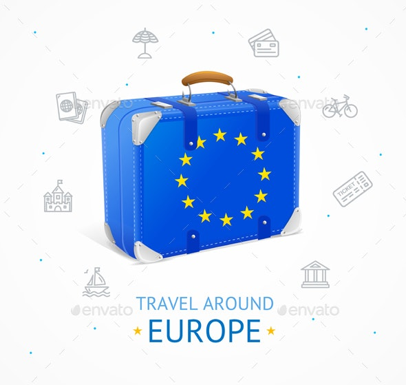 Realistic Detailed Europe Travel Concept Banner Card. Vector - Travel Conceptual