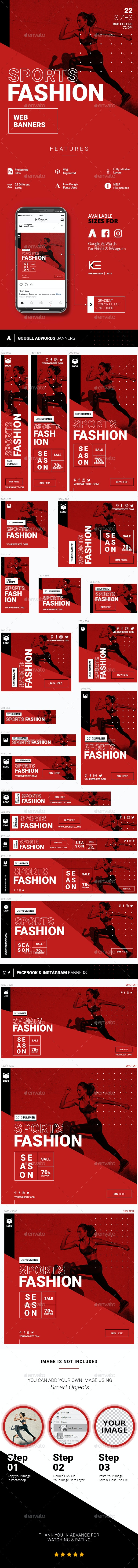 Sports Fashion Web Banners - Banners & Ads Web Elements