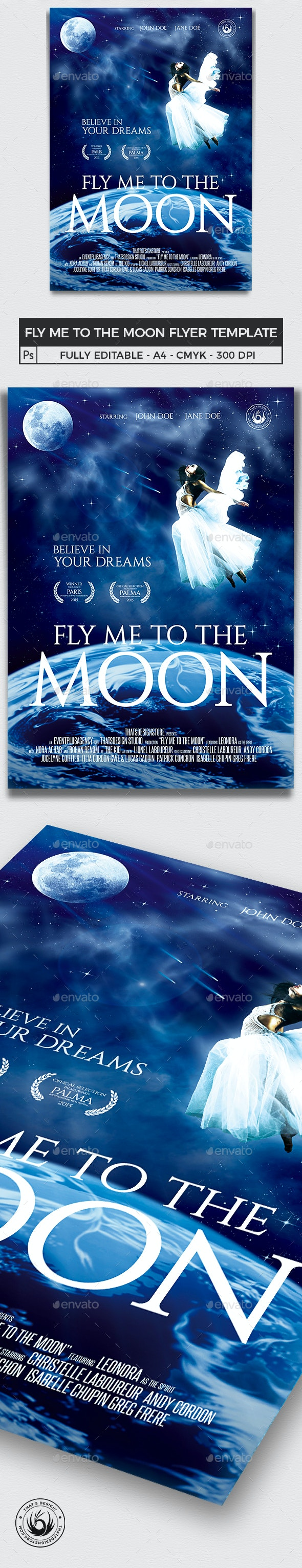 Fly Me to the Moon Movie Poster Template - Miscellaneous Events