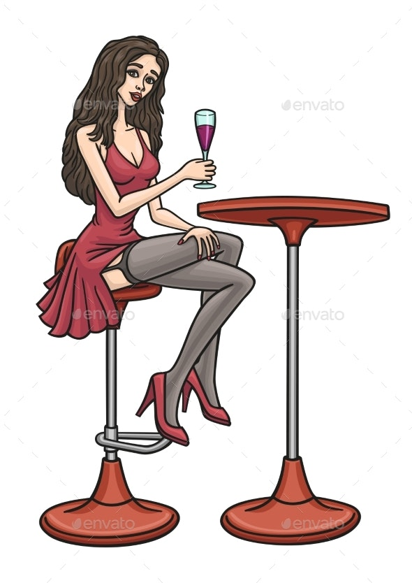 A Young Girl Sits on a Bar Chair and Drinks - People Characters