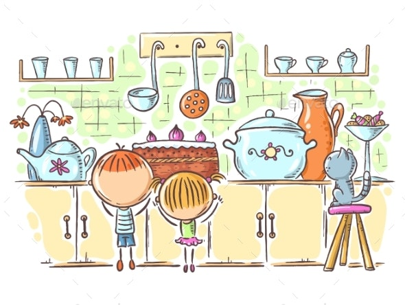 Kids Are Attracted By the Cake in the Kitchen - People Characters