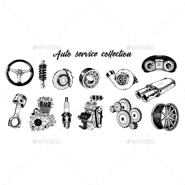 Hand Drawn Sketch Set of Auto or Car Service Elements - Services Commercial / Shopping
