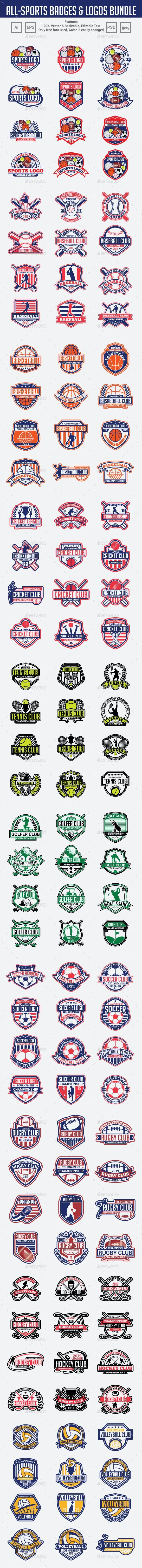 120 Sports Badges & Logos Bundle - Badges & Stickers Web Elements