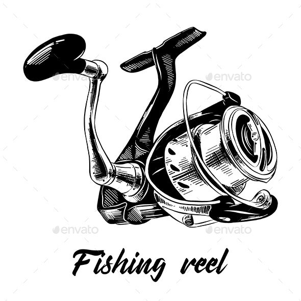 Hand Drawn Sketch of Fishing Reel - Miscellaneous Vectors