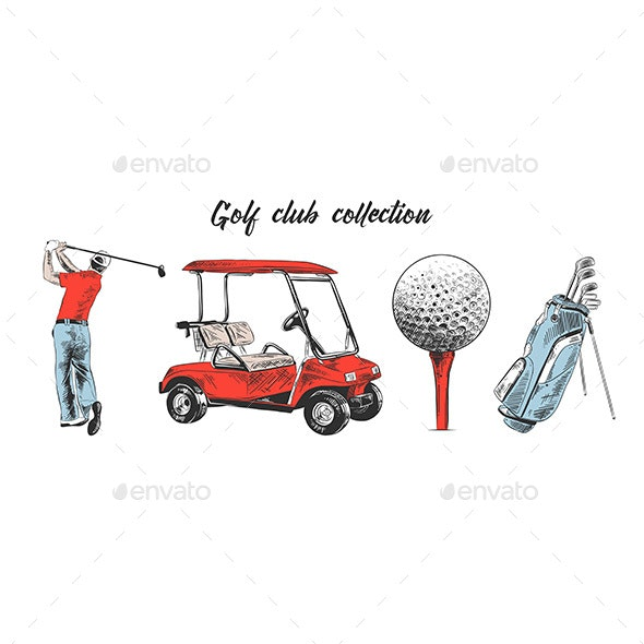 Hand Drawn Sketch Set of Golf Bag Cart and Ball - Sports/Activity Conceptual