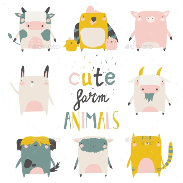 Farm Animals Set on White Background. Vector - Animals Characters