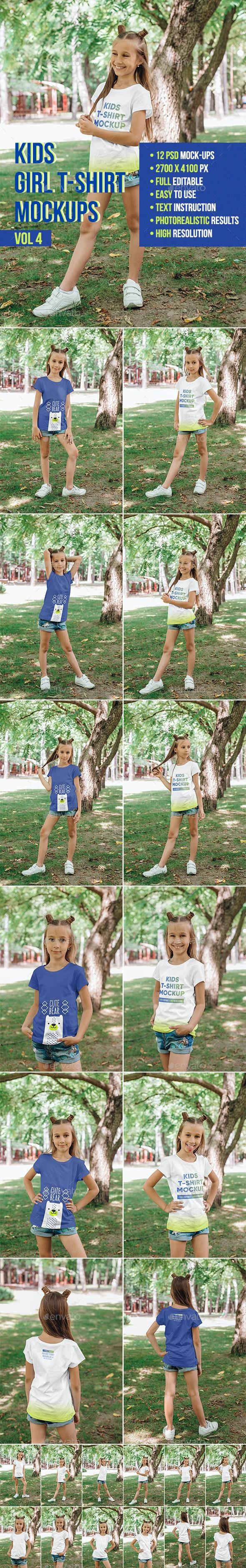 Kids Girl T-Shirt Mockups Vol 4 - T-shirts Apparel