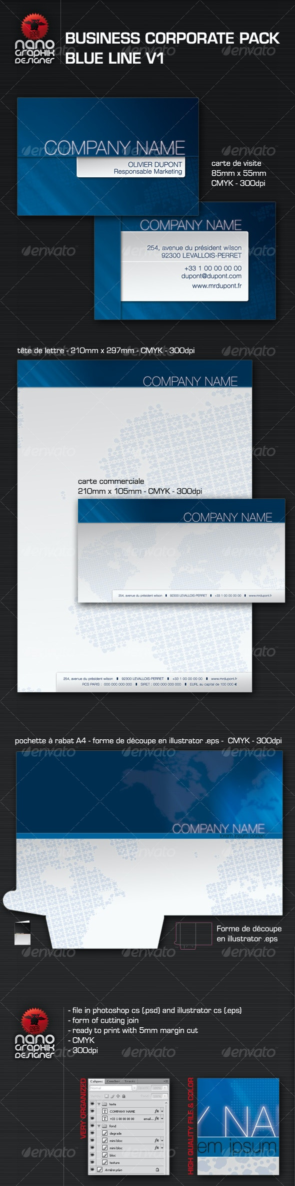 business corporate pack blue line v1 - Corporate Business Cards