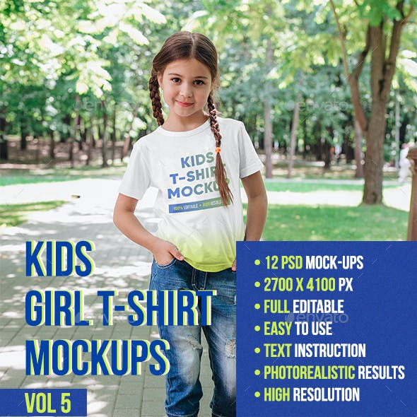 Kids Girl T-Shirt Mockups Vol5