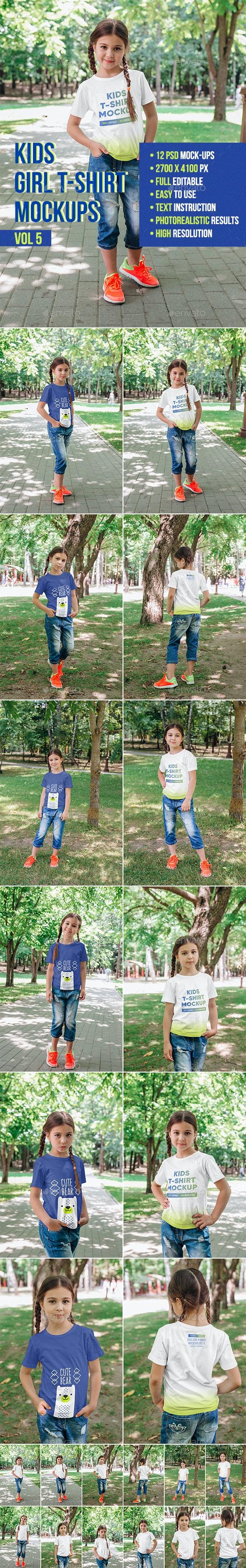 Kids Girl T-Shirt Mockups Vol5 - T-shirts Apparel