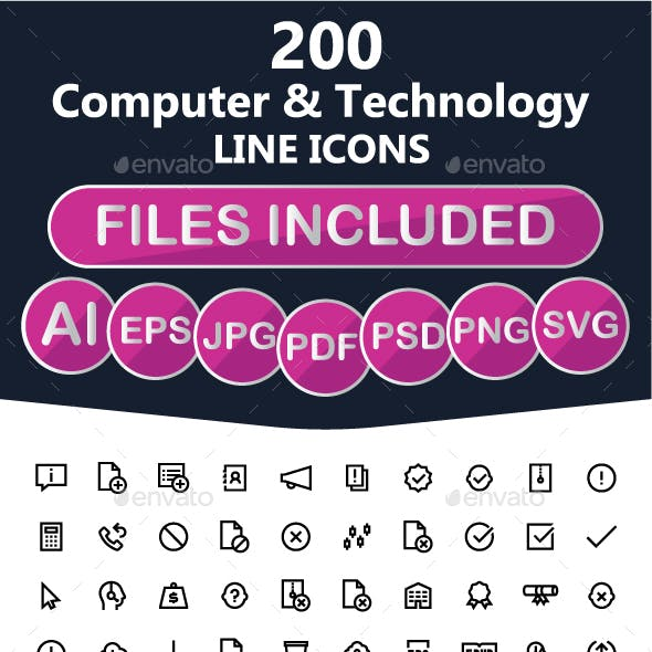 200 Software Line Icons