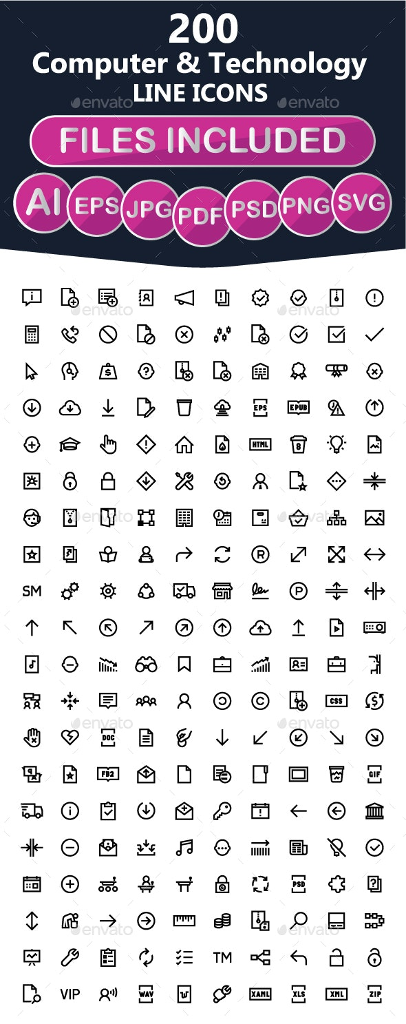 200 Software Line Icons - Software Icons