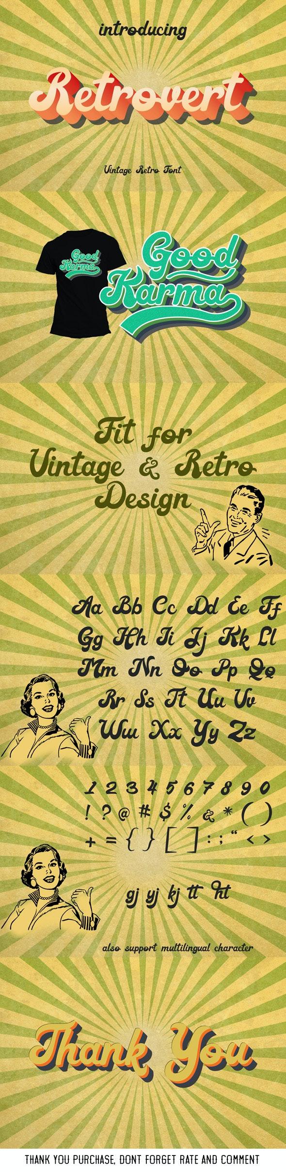 Retrovert - Retro Script Vintage Font by Anomali | GraphicRiver