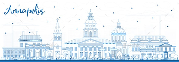 Outline Annapolis Maryland City Skyline with Blue Buildings. - Buildings Objects