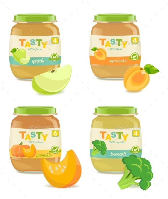 Four Jars with Different Kids Puree - Food Objects