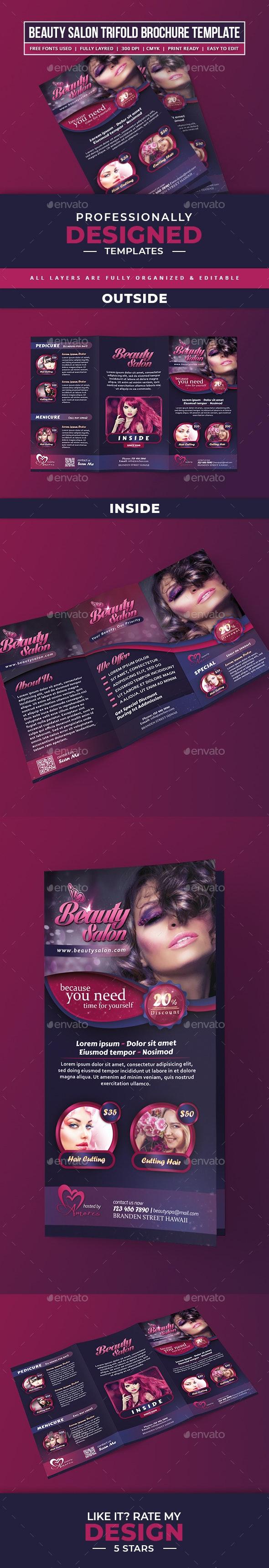 Trifold Beauty Salon - Corporate Brochures