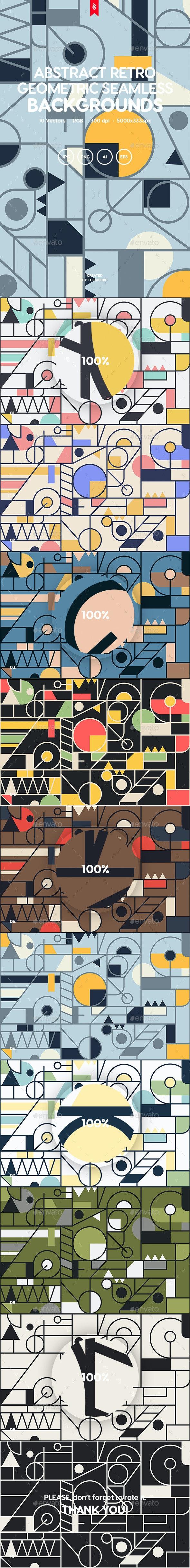 Retro Geometric Ornament Seamless Patterns - Backgrounds Graphics