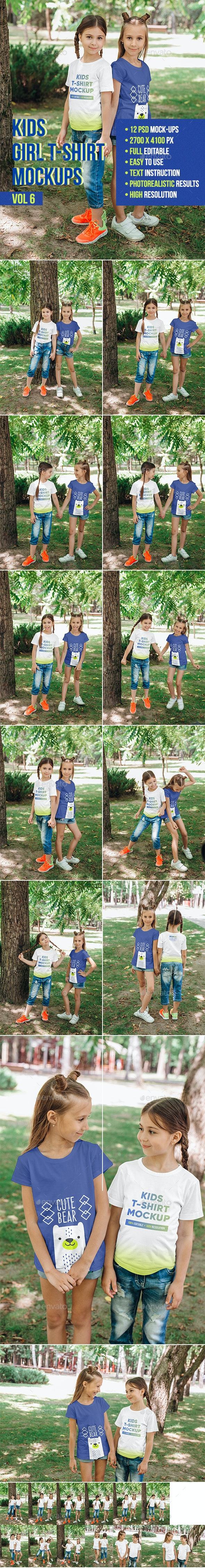 Kids Girl T-Shirt Mockups Vol6 - T-shirts Apparel