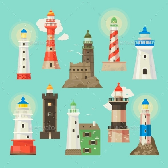 Lighthouse Vector Beacon Lighter Beaming Path - Landscapes Nature