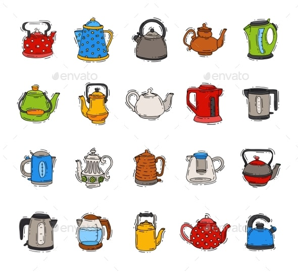 Teapot and Kettle Vector - Man-made Objects Objects