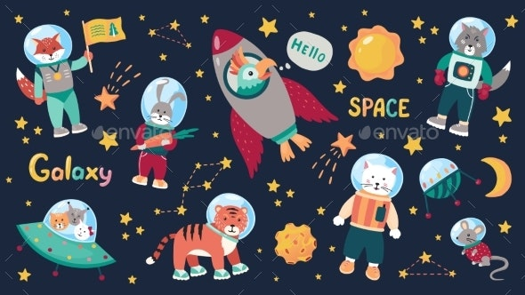 Space Animal Kids. Cartoon Baby Astronauts - Animals Characters