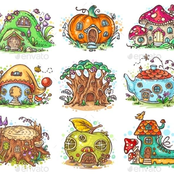 Cartoon Elven, Fairy or Gnome Houses