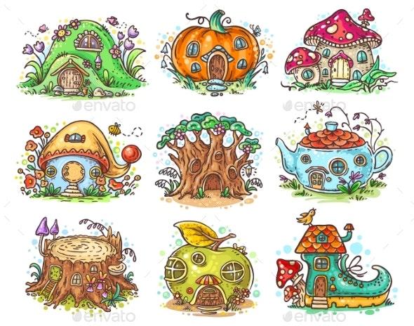 Cartoon Elven, Fairy or Gnome Houses - Miscellaneous Vectors