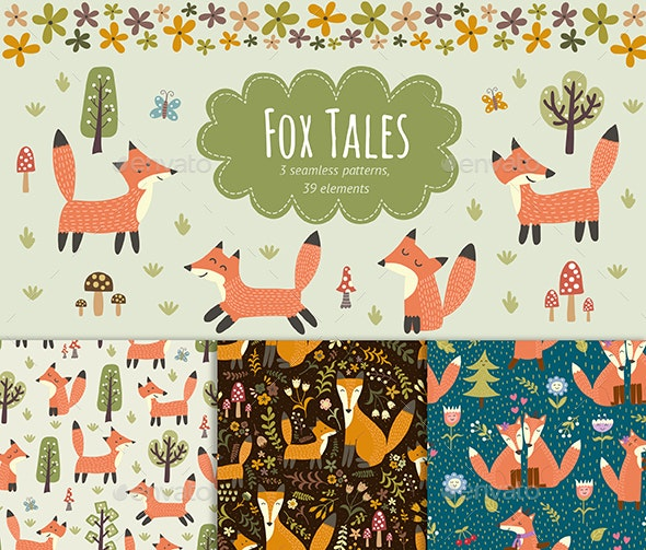 Fox Tales: Seamless Patterns and Elements - Animals Characters