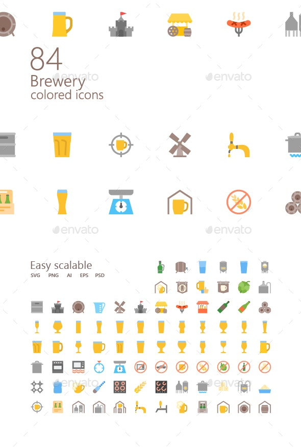 Brewery Colored Iconset - Food Objects