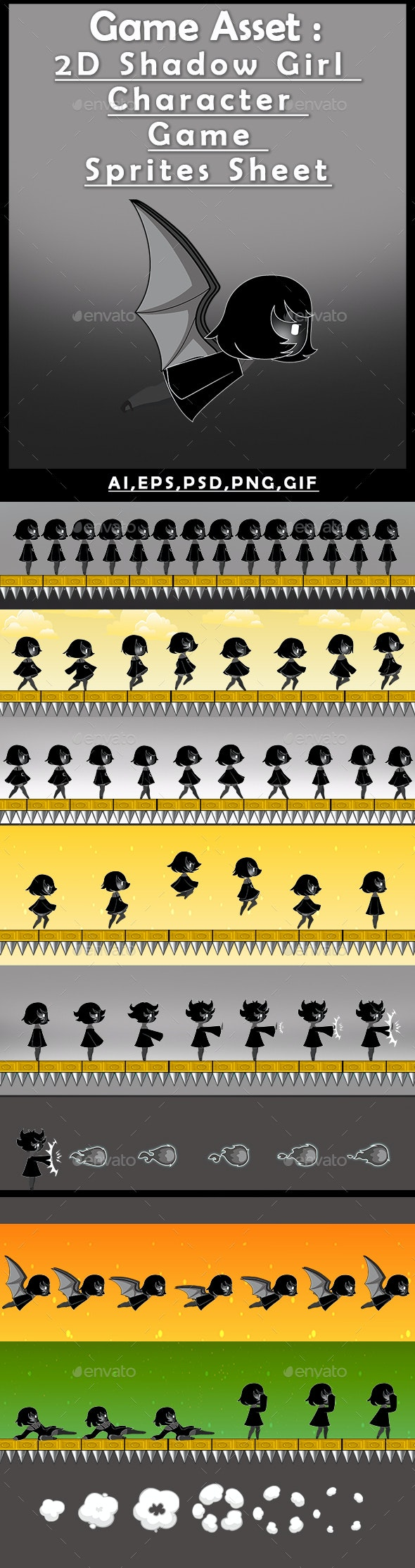 Game Asset : 2D Shadow Girl Character Game Sprites Sheet - Sprites Game Assets