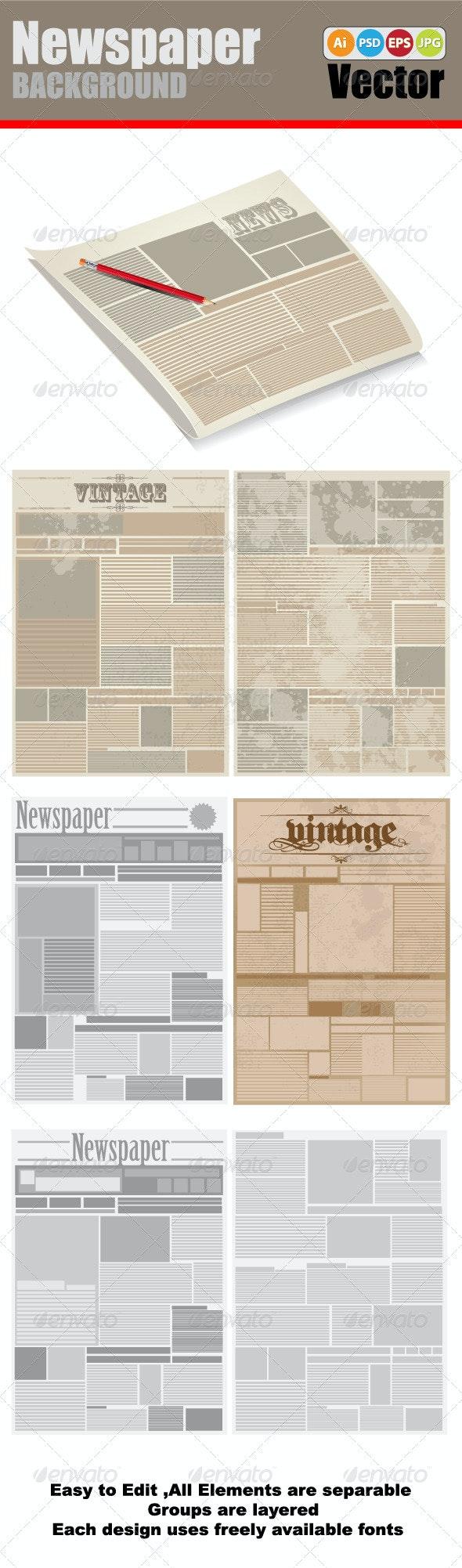 Vector Newspaper Background - Backgrounds Decorative