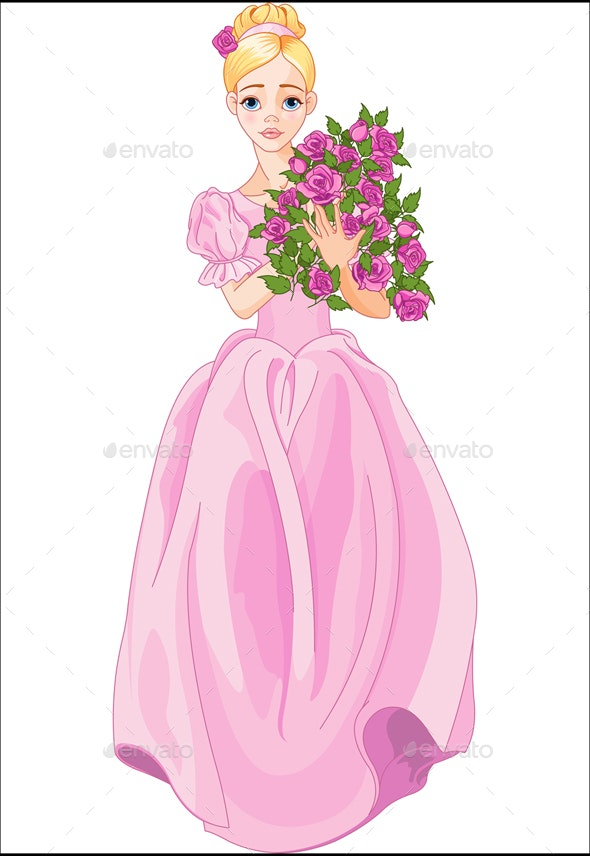 Princess Holds Bouquet - People Characters