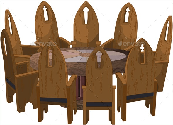 Chairs around Round Table - Man-made Objects Objects