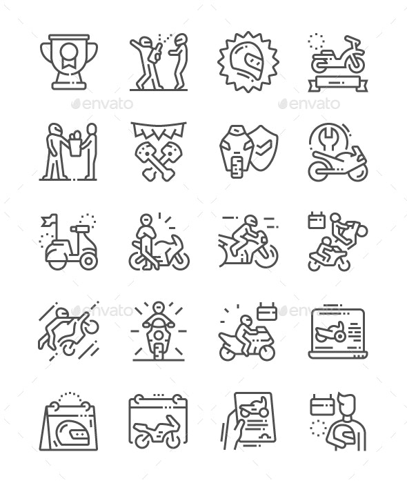 World Motorcycle Day Line Icons - Miscellaneous Characters