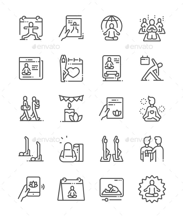 International Yoga Day Line Icons - Miscellaneous Characters