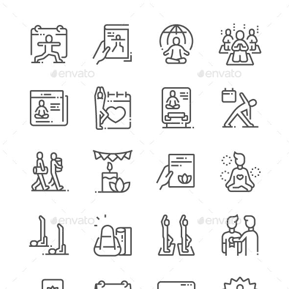 International Yoga Day Line Icons