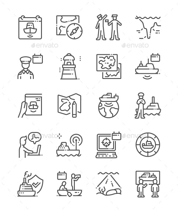 World Hydrography Day Line Icons - Miscellaneous Characters